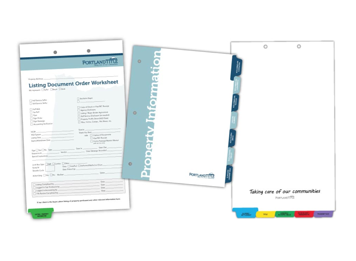 Custom printed title and escrow tab dividers