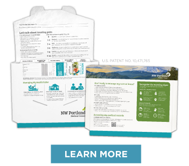 discharge folders with content to proote heart-healthy choices